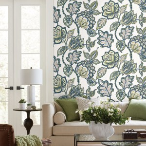 CY1539 York Wallcovering Conservatory Midsummer Jacobean Wallpaper Lime Navy Room Setting
