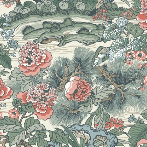 CY1542 York Wallcovering Conservatory Dynasty Floral Branch Wallpaper Green Pink