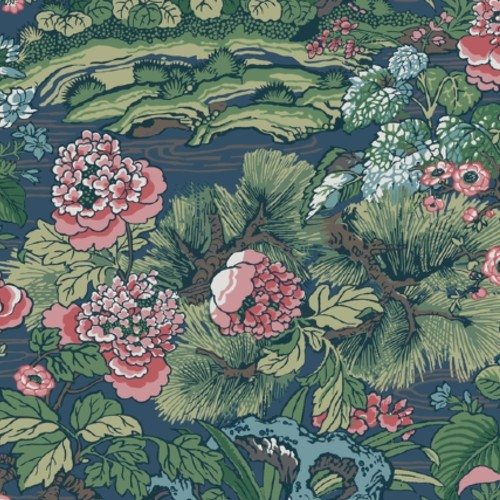 CY1544 York Wallcovering Conservatory Dynasty Floral Branch Wallpaper Blue Green