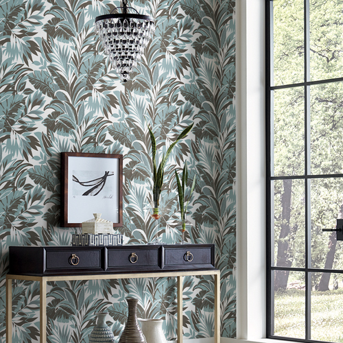CY1569 York Wallcovering Conservatory Palm Silhouette Wallpaper Turquoise Charcoal Room Setting