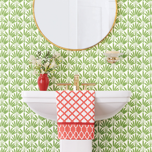 SP1506 York Wallcovering Small Prints Frond Fan Wallpaper Green Room Setting