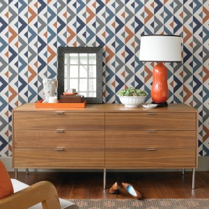 2902-25542 Brewster Wallcovering A Street Prints Theory Seesaw Geometric Faux Linen Wallpaper Multi-color Room Setting