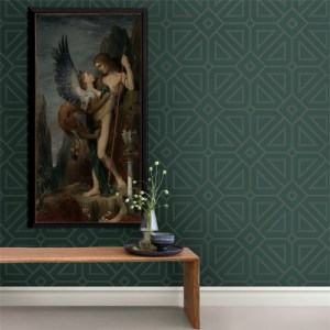 2902-87337 Brewster Wallcovering A Street Prints Theory Voltaire Geometric Wallpaper Dark Green Room Setting