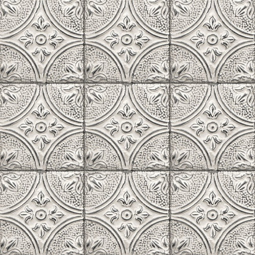 2922-23763 Brewster Wallcovering A Street Prints Trilogy Cornelius Tin Ceiling Tile Wallpaper White