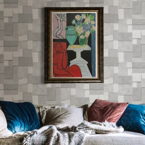 2922-25353 Brewster Wallcovering A Street Prints Trilogy Duchamp Metallic Squares Wallpaper Silver Room Setting