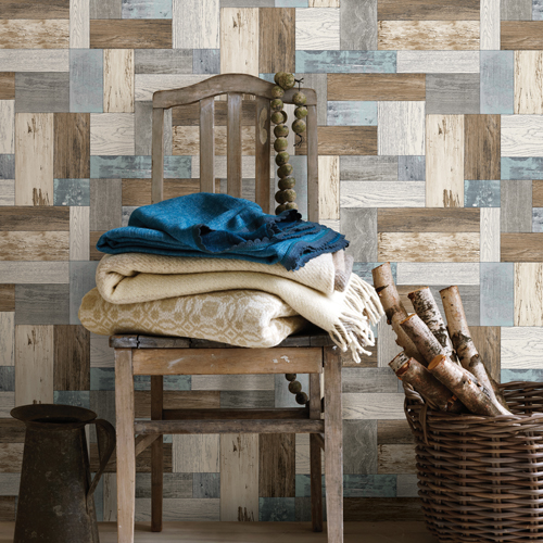 2922-25385 Brewster Wallcovering A Street Prints Trilogy Knock on Wood Wallpaper Light Blue Room Setting