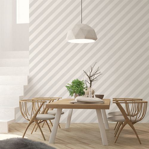 ST36914 Patton Wallcovering Norwall Simply Stripes 3 Diagonal Stripe Wallpaper Dove Room Setting