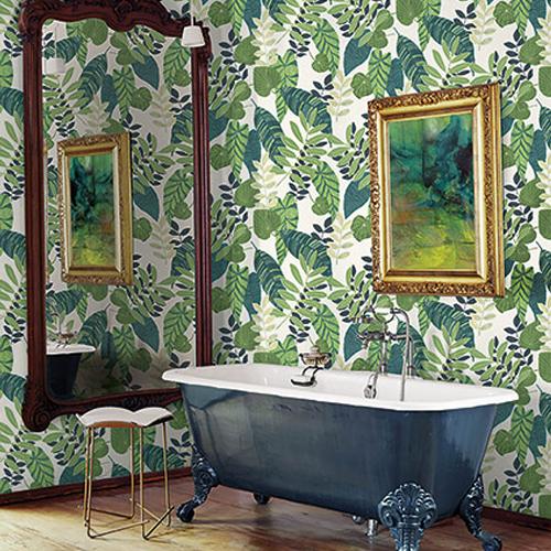 RY30904 Seabrook Wallcovering Boho Rhapsody Tropicana Wallpaper Cream Room Setting