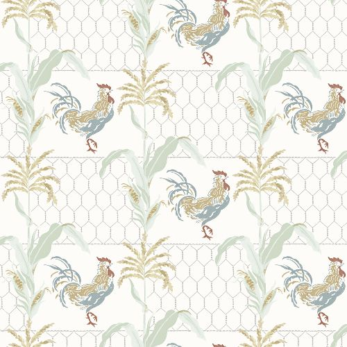 3119-13022 Brewster Wallcovering Chesapeake Kindred Hank Rooster Wallpaper Multi-color