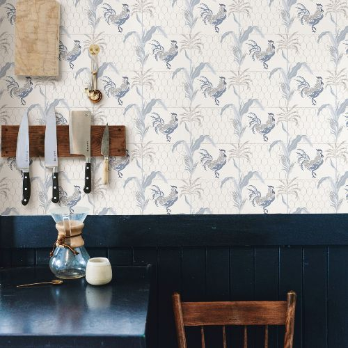 3119-13023 Brewster Wallcovering Chesapeake Kindred Hank Rooster Wallpaper Blue Room Setting