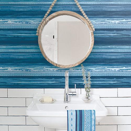 RY31302 Seabrook Wallcovering Boho Rhapsody Horizon Wallpaper Blue Room Setting