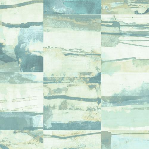 FW36817 Patton Wallcovering Norwall Fresh Watercolors Aquarelle Tile Wallpaper Green