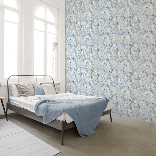 FW36819 Patton Wallcovering Norwall Fresh Watercolors Mosaic Wallpaper Blue Room Setting
