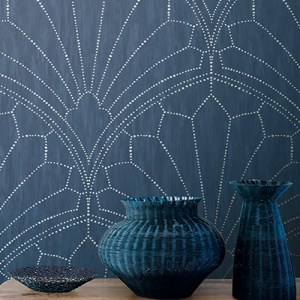 RY31502 Seabrook Wallcoverings Boho Rhapsody Scallop Wallpaper Blue Room Setting