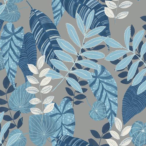 RY30912 Seabrook Wallcovering Boho Rhapsody Tropicana Wallpaper Blue