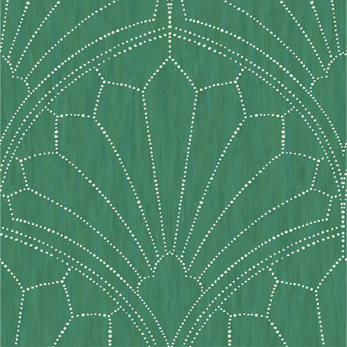 RY31504 Seabrook Wallcoverings Boho Rhapsody Scallop Wallpaper Green