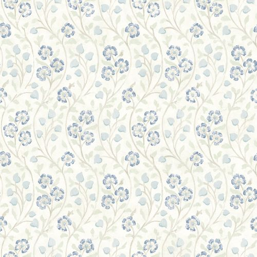 3119-13052 Brewster Wallcovering Chesapeake Kindred Patsy Floral Wallpaper Blue