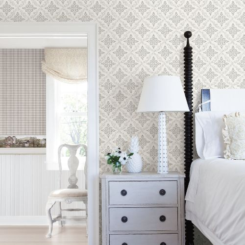 3119-13531 Brewster Wallcovering Cheseapeake Kindred Wynonna Geometric Floral Wallpaper Light Grey Room Setting