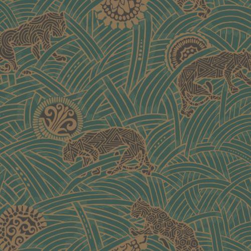 AF6551 York Wallcoverings Ronald Redding Tea Garden Tibetan Tigers Wallpaper Green