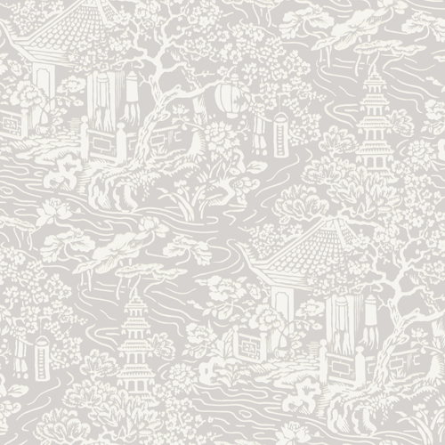 AF6573 York Wallcoverings Ronald Redding Tea Garden Chinoiserie Wallpaper Grey