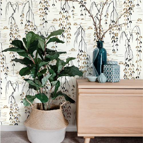 AF6581 York Wallcovering Ronald Redding Tea Garden Willow Branches Wallpaper Gold Room Setting