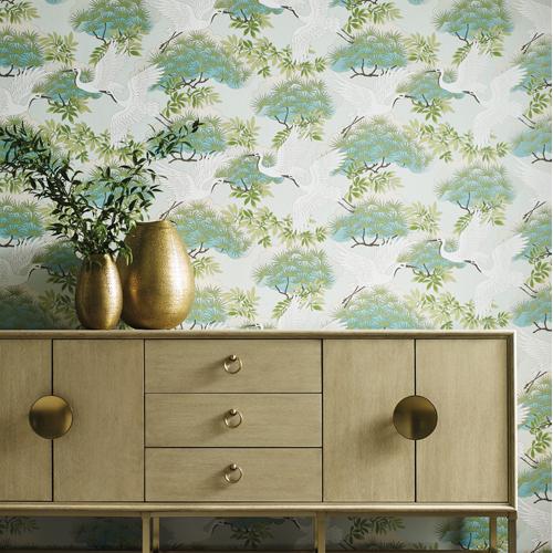 AF6589 York Wallcovering Ronald Redding Tea Garden Sprig and Heron Wallpaper Teal Room Setting