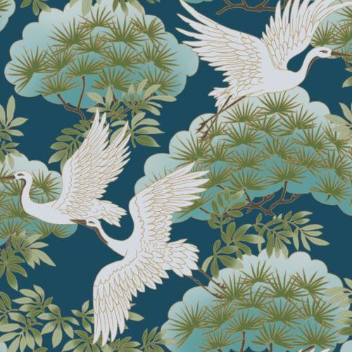AF6592 York Wallcovering Ronald Redding Tea Garden Sprig and Heron Wallpaper Blue