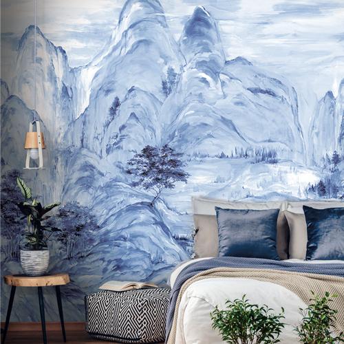 AF6598M York Wallcovering Ronald Redding Tea Garden Misty Mountain Wall Mural Blue Room Setting