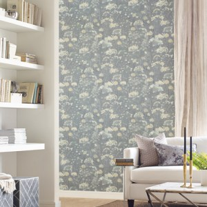 NA0541 York Wallcovering Candice Olson Botanical Dreams Botanical Fantasy Wallpaper Grey Room Setting