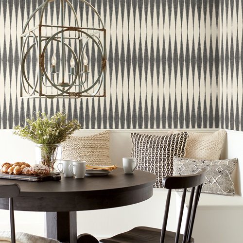PSW1004RL Magnolia Handloom Black Peel and Stick Wallpaper Room Setting by York Wallcovering