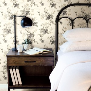 PSW1007RL Magnolia Heirloom Rose Grey Peel and Stick Wallpaper Room Setting by York Wallcovering