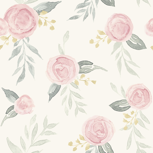 PSW1010RL Magnolia Watercolor Roses Pink Peel and Stick Wallpaper