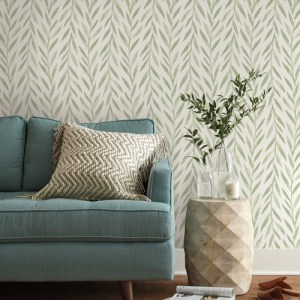 PSW1016RL Magnolia Willow Green Peel and Stick Wallpaper Room Setting by York Wallcovering