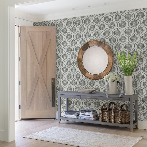 2861-25718 Brewster Wallcoverings A Street Prints Equinox Laurel Ogee Wallpaper Grey Room Setting
