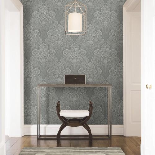 2861-25728 Brewster Wallcoverings A Street Prints Equinox Triumph Medallion Wallpaper Grey Room Setting