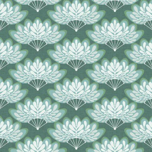 2861-25753 Brewster Wallcoverings A Street Prints Equinox Lotus Floral Fans Wallpaper Grey