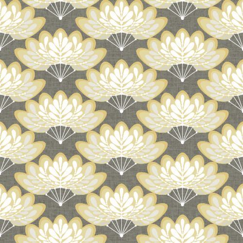 2861-25754 Brewster Wallcoverings A Street Prints Equinox Lotus Floral Fans Wallpaper Mustard