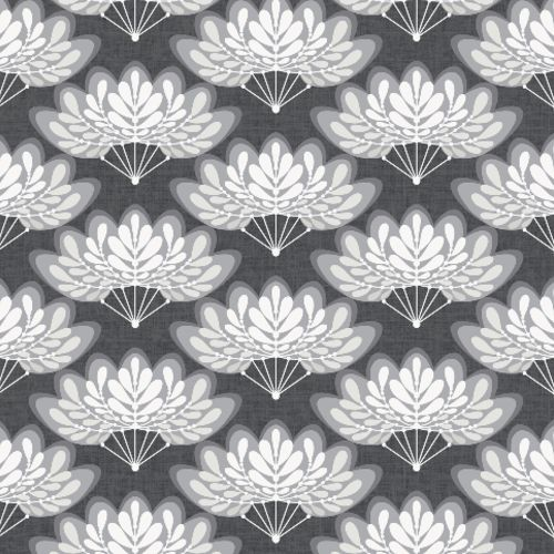2861-25756 Brewster Wallcoverings A Street Prints Equinox Lotus Floral Fans Wallpaper Charcoal