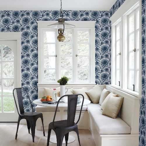 2861-87521 Brewster Wallcovering A Street Prints Equinox Umbra Floral Wallpaper Indigo Room Setting