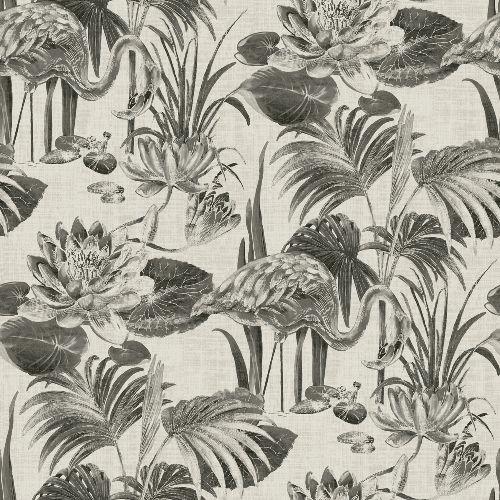 2861-87522 Brewster Wallcoverings A Street Prints Equinox Frolic Lagoon Wallpaper Black