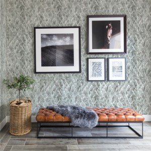 2909-DWP0074-0303 Brewster Wallcovering Riva Bunter Distressed Geometric Wallpaper Slate Room Setting