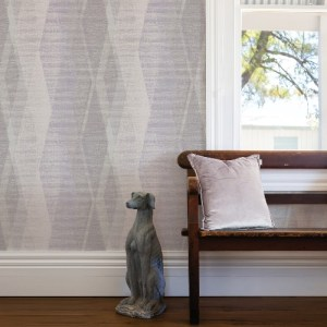 2909-IH-23505 Brewster Wallcovering Riva Torrance Distressed Geometric Wallpaper Lavender Room Setting