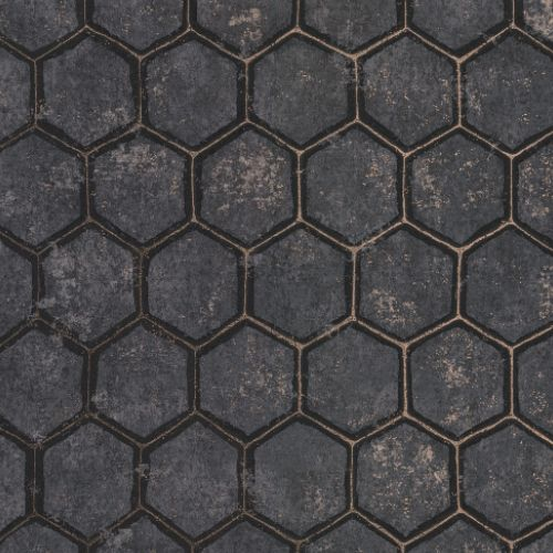 2927-00403 Brewster Wallcoverings Polished Starling Honeycomb Wallpaper Charcoal