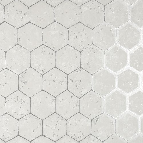 2927-00406 Brewster Wallcoverings Polished Starling Honeycomb Wallpaper Silver