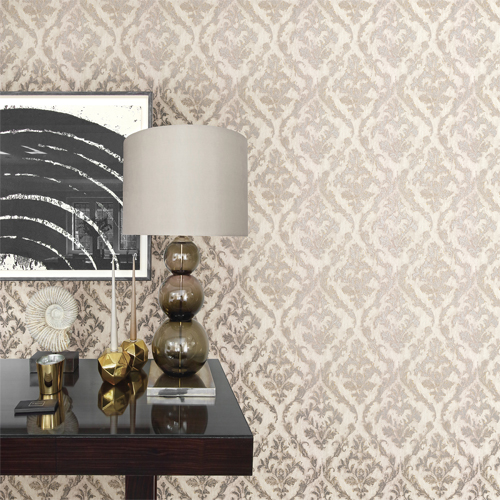 2927-20106 Brewster Wallcovering Polished Lyra Damask Wallpaper Light Grey Room Setting