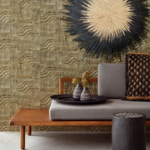 391533 Brewster Wallcoverings Eijffinger Terra Pueblo Global Geometric Wallpaper Light Brown Room Setting