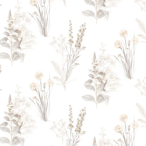 AB42446 Patton Wallcoverings Norwall Flourish Flora Wallpaper Grey