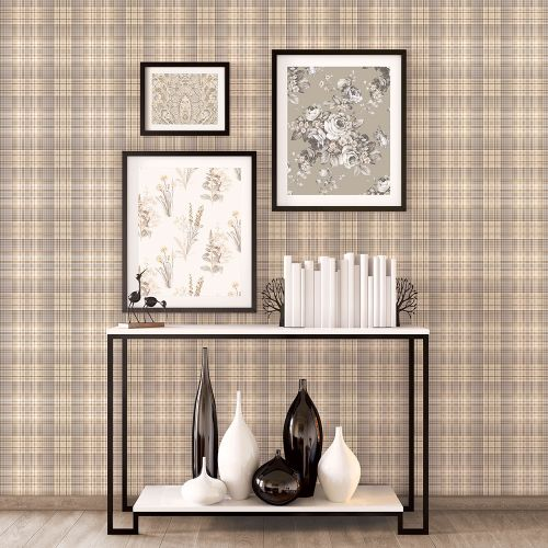 AF37721 Patton Wallcoverings Norwall Flourish Check Plaid Wallpaper Coffee Room Setting