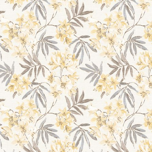 AF37726 Patton Wallcoverings Norwall Flourish Linen Floral Wallpaper Yellow