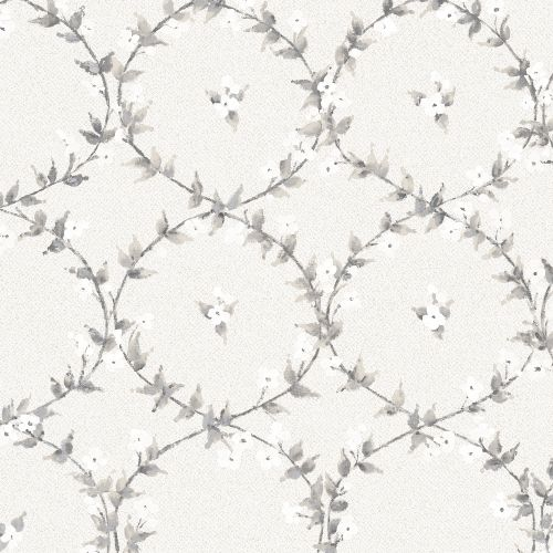 AF37744 Patton Wallcoverings Norwall Flourish Floral Laurel Wallpaper Grey
